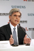 Siemens CEO Joe Kaeser delivers a speech during a press conference about SiemensMHI proposals for Alstom on June 17 in Paris France Mitsubishi Heavy...