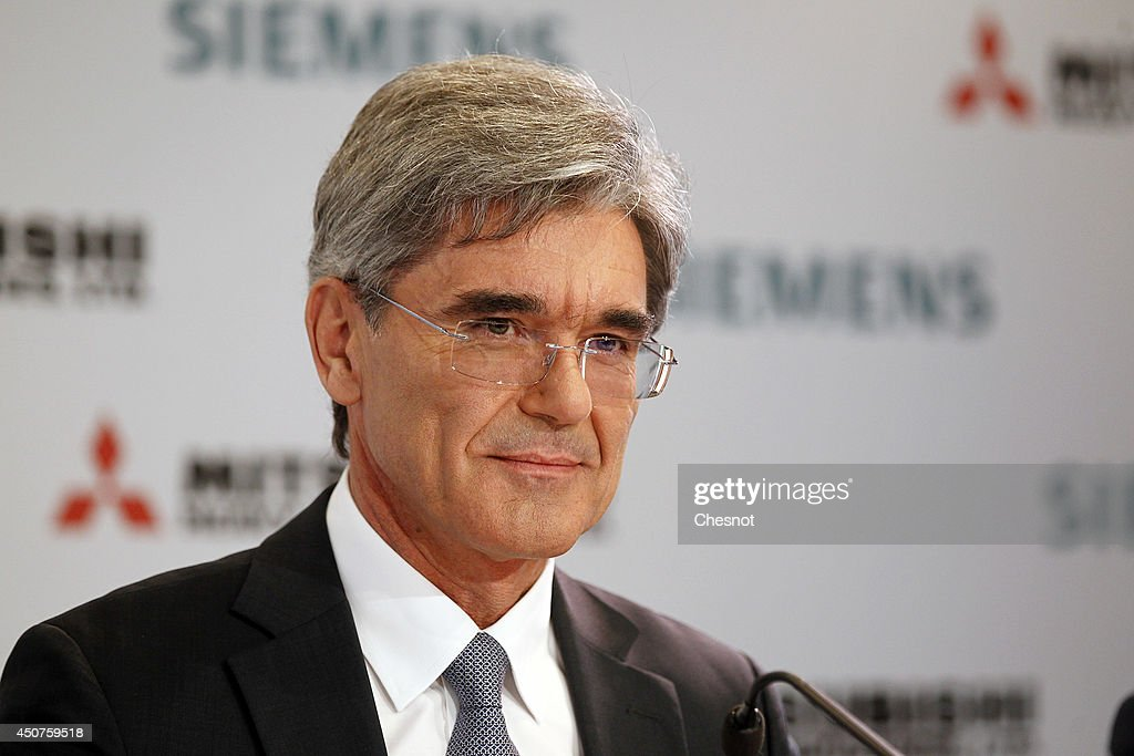 Siemens CEO <a gi-track='captionPersonalityLinkClicked' href=/galleries/search?phrase=Joe+Kaeser&family=editorial&specificpeople=558326 ng-click='$event.stopPropagation()'>Joe Kaeser</a> delivers a speech during a press conference about Siemens-MHI proposals for Alstom on June 17, 2014, in Paris, France. Mitsubishi Heavy Industries (MHI) shares fell on June 17 as investors reacted with disappointment to the Japanese firm's joint bid with Siemens for the energy assets of French giant Alstom.