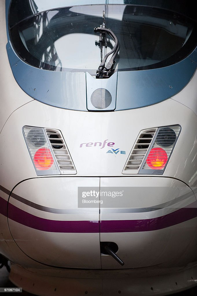 A Siemens locomotive operated by Renfe for their highspeed AVE service sits at the platform at Atocha station in Madrid Spain on Thursday Feb 25 2010...