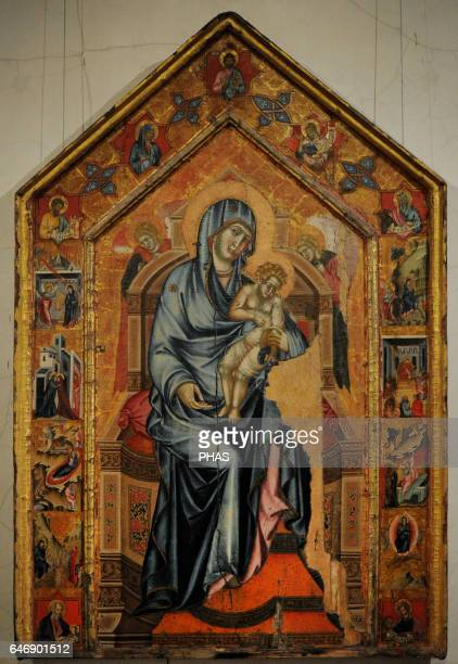 Siena artist of 14th century Madonna and Child Enthroned with hagiographical scenes in stamps 13201325 Tempera on panel The State Hermitage Museum...