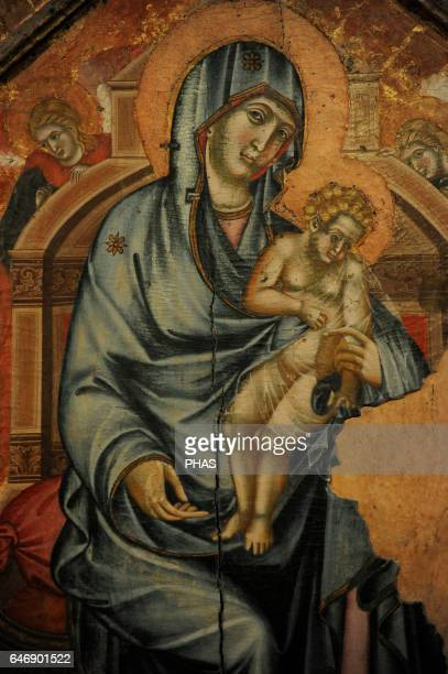Siena artist of 14th century Madonna and Child Enthroned with hagiographical scenes in stamps 13201325 Detail Tempera on panel The State Hermitage...