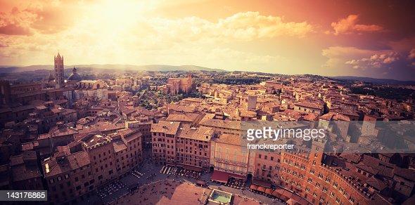 Siena city panorama aerial view