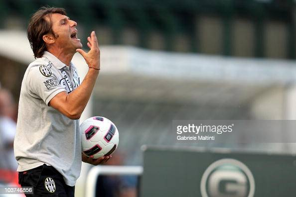 Siena head coach Antonio Conte gestures during the Serie B match between Siena and Reggina at Artemio Franchi Mps Arena Stadium on August 28 2010 in...