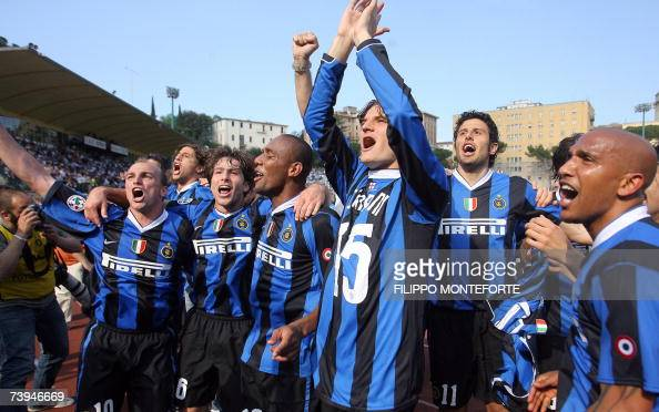 Inter Milan's players jubilate after beating Siena 21 and winning their 15th Italian serie A football championship at Siena's Artemio Franchi Stadium...