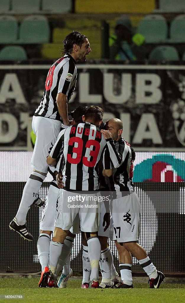 Siena players celebrate a goal scored by Innocent Emeghara during the Serie A match between AC Siena and S.S. Lazio at Stadio Artemio Franchi on February 18, 2013 in Siena, Italy.