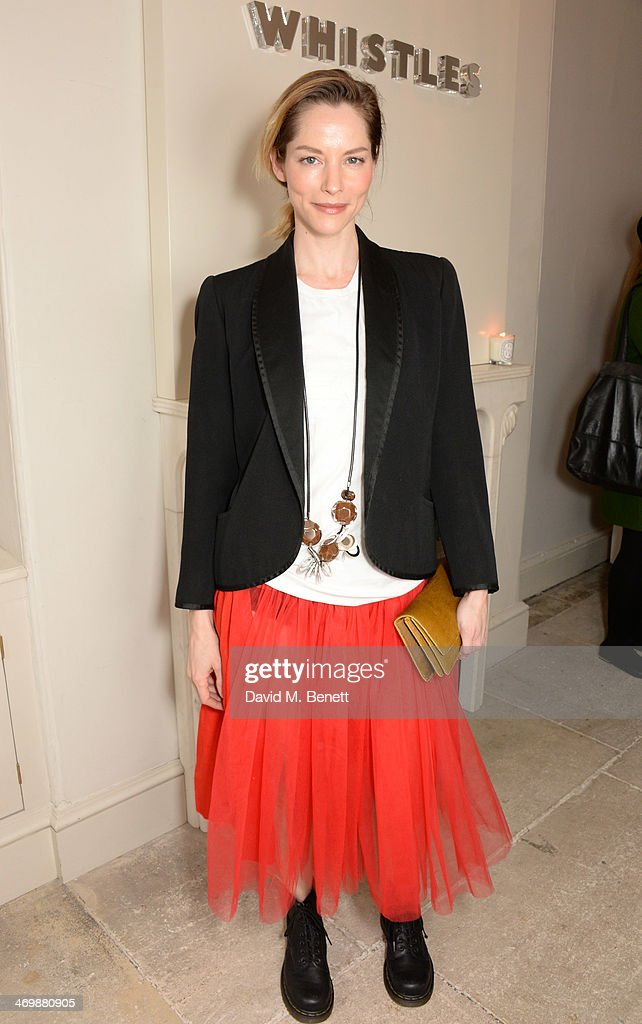 Sienna Guillory attends the Whistles presentation at London Fashion Week AW14 at 33 Fitzroy Place on February 17, 2014 in London, England.
