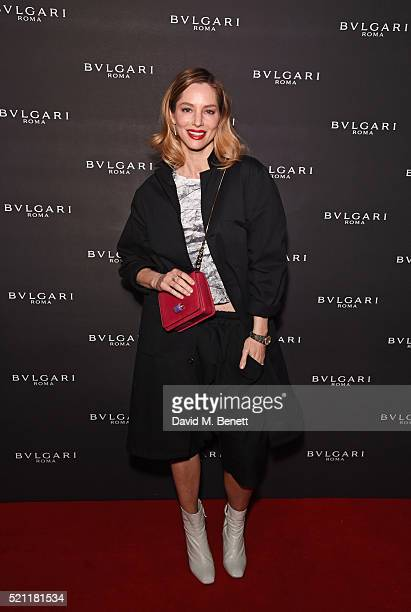 Sienna Guillory carrying a Bulgari bag arrives at the Bulgari flagship store reopening on New Bond Street on April 14 2016 in London England