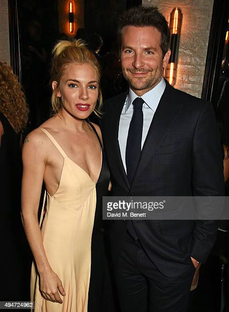 Sienna Miller and Bradley Cooper attend the after party following the European Premiere of 'Burnt' at Tredwell's on October 28 2015 in London England