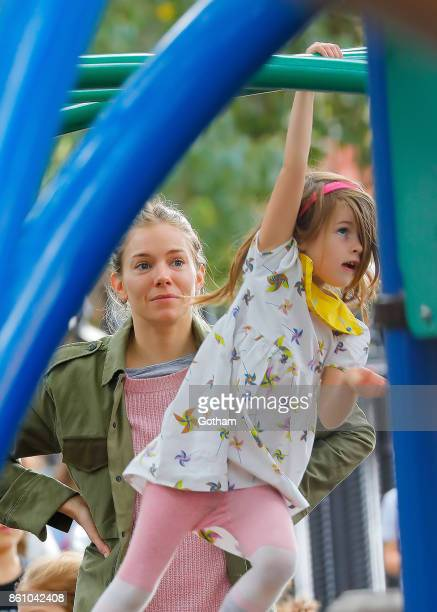 Sienna Miller and daughter Marlowe Sturridge are seen on October 13 2017 in New York City