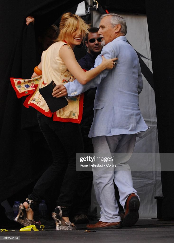 Sienna Miller and Dennis Hopper at 'The Concert for Diana' at Wembley Stadium in London