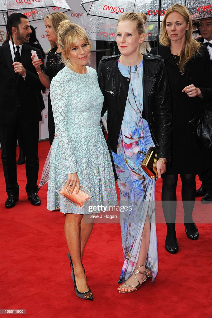 Sienna Miller and Savannah Miller attend the BAFTA TV Awards 2013 at The Royal Festival Hall on May 12, 2013 in London, England.