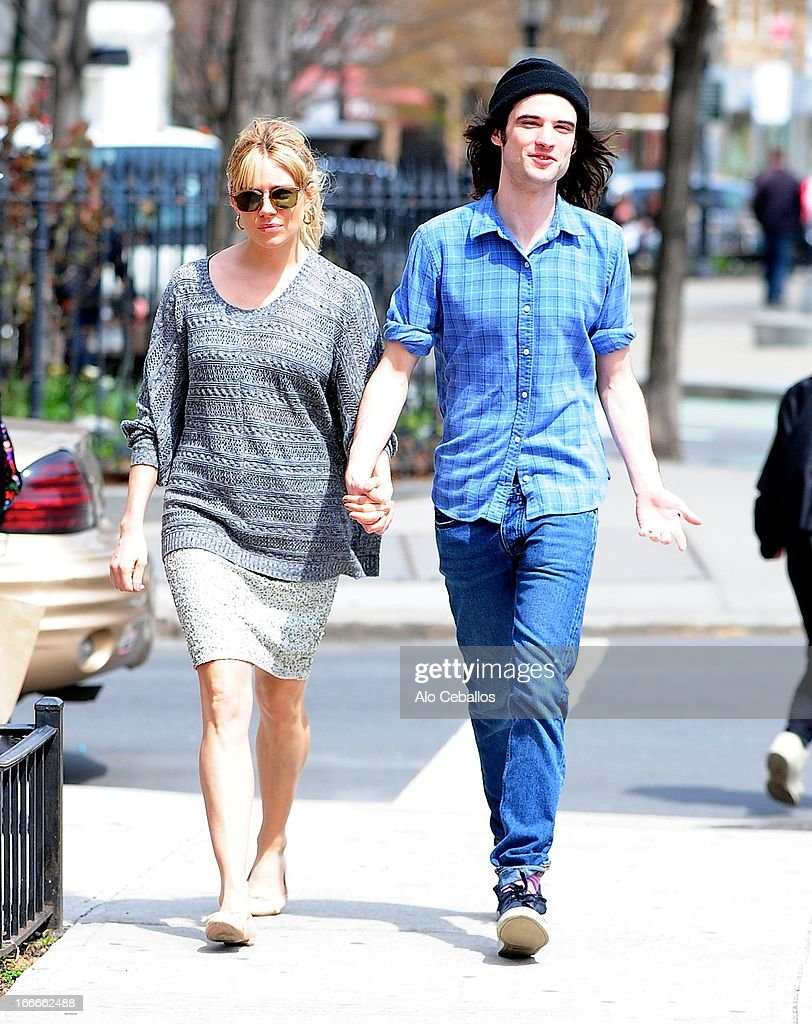 Sienna Miller and Tom Sturridge are seen in the West Village on April 15, 2013 in New York City.