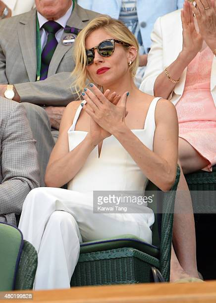 Sienna Miller attends day eleven of the Wimbledon Tennis Championships at Wimbledon on July 10 2015 in London England