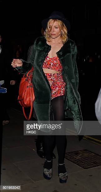 Sienna Miller attends Love Magazine's Christmas party at George restaurant on December 18 2015 in London England