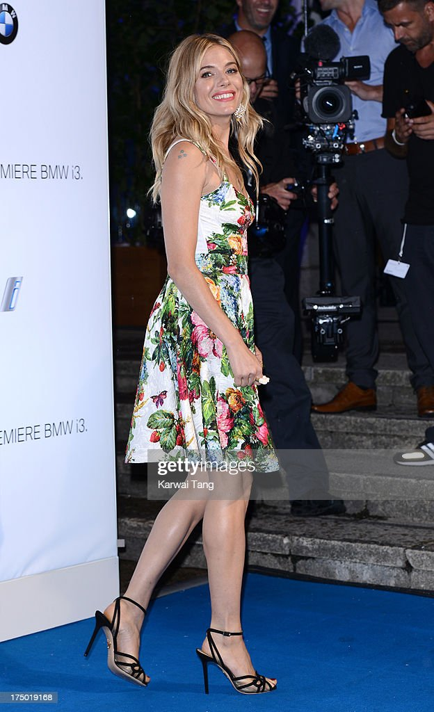 Sienna Miller attends the BMW i3 global reveal party held at Old Billingsgate Market on July 29, 2013 in London, England.