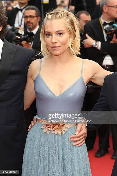 Sienna Miller attends the closing ceremony and 'Le Glace Et Le Ciel' premiere during the 68th annual Cannes Film Festival on May 24 2015 in Cannes...
