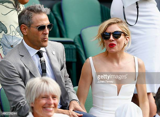 Sienna Miller during day eleven of the Wimbledon Lawn Tennis Championships at the All England Lawn Tennis and Croquet Club on July 10 2015 in London...
