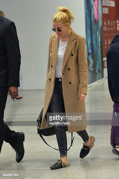 Sienna Miller is seen at Fiumicino Airport on October 27 2015 in Rome Italy