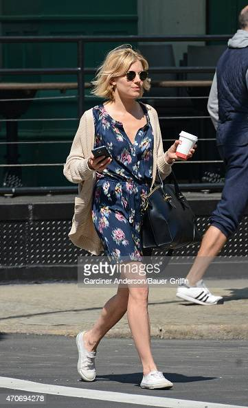 Sienna Miller is seen in New York City on April 22 2015 in New York City