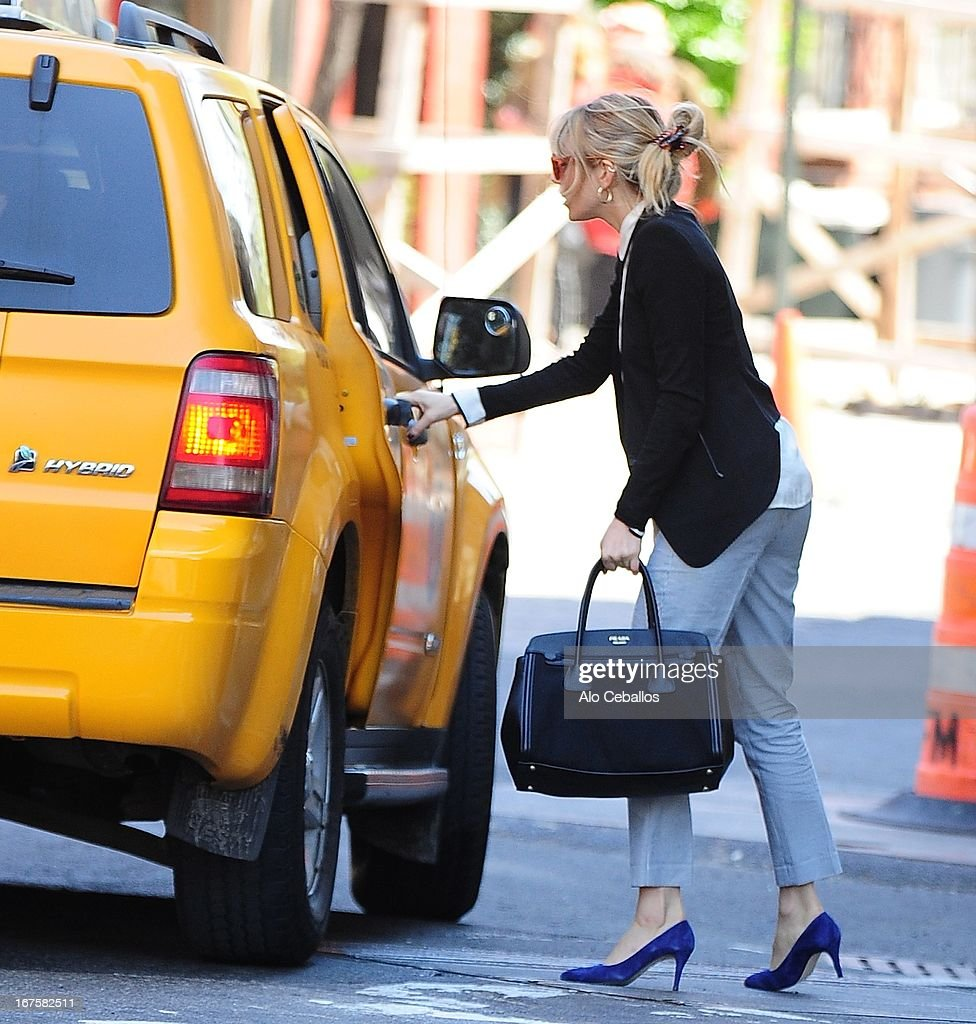 Sienna Miller is seen in the West Village on April 26, 2013 in New York City.