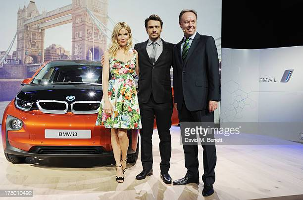 Sienna Miller James Franco and Ian Robertson attend the global reveal of the BMW i3 the luxury car brand's first electric car at The Old Billingsgate...