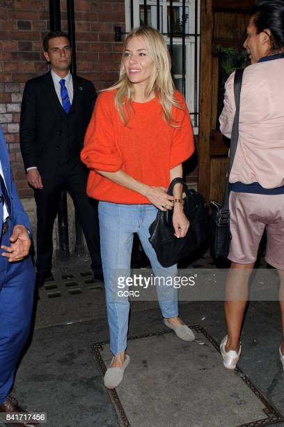 Sienna Miller leaving the Apollo theatre on September 1 2017 in London England