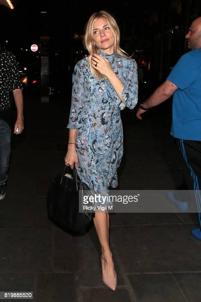 Sienna Miller seen on a night out arriving at J Sheekey restaurant after her performance in 'Cat on a Hot Tin Roof' at Apollo Theatre July 20 2017 in...