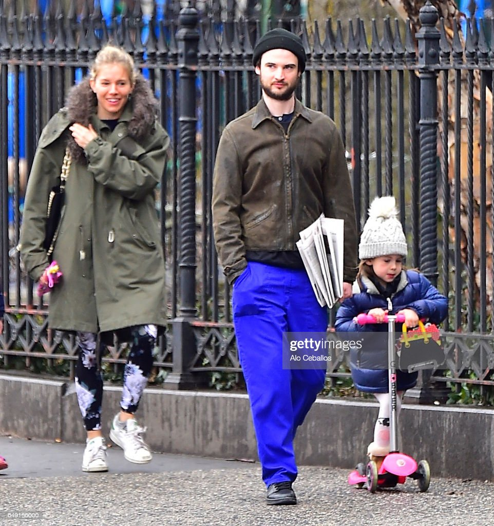 Sienna Miller,Tom Sturridge, Marlowe Ottoline Layng Sturridge are seen in the West Village on March 7, 2017 in New York City.