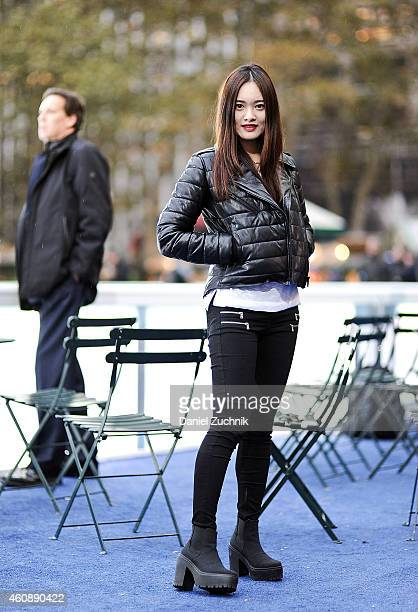 Sienna Zhang is seen on the streets of New York wearing an Alexander Wang x HM jacket and Topshop shoes on December 29 2014 in New York City