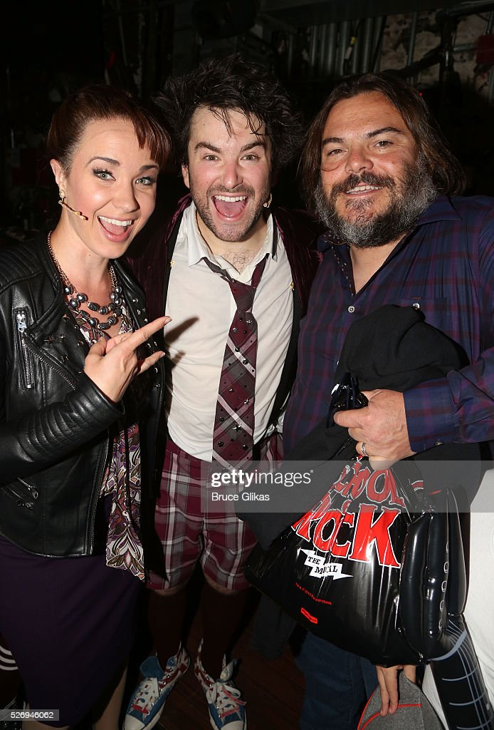 Sierra Boggess (who plays 'Principal Rosalie Mullins'), Alex Brightman (who plays 'Dewey Finn' onstage) and Jack Black (who played 'Dewey Finn' in the movie) pose backstage at the hit musical based on the film starring Jack Black 'School of Rock' on Broadway at The Winter Garden Theatre on May 1, 2016 in New York City.