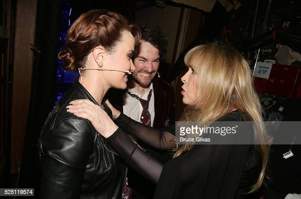 Sierra Boggess Alex Brightman and Stevie Nicks chat backstage as Stevie Nicks performs with the kid band at the hit musical based on the film 'School...