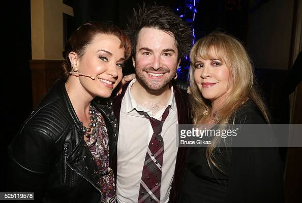 Sierra Boggess Alex Brightman and Stevie Nicks pose backstage as Stevie Nicks performs with the kid band at the hit musical based on the film 'School...