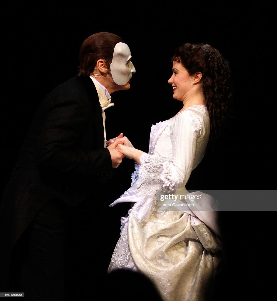 Sierra Boggess and Hugh Panaro attend 'The Phantom Of The Opera' Broadway 25th Anniversary at Majestic Theatre on January 26, 2013 in New York, New York.