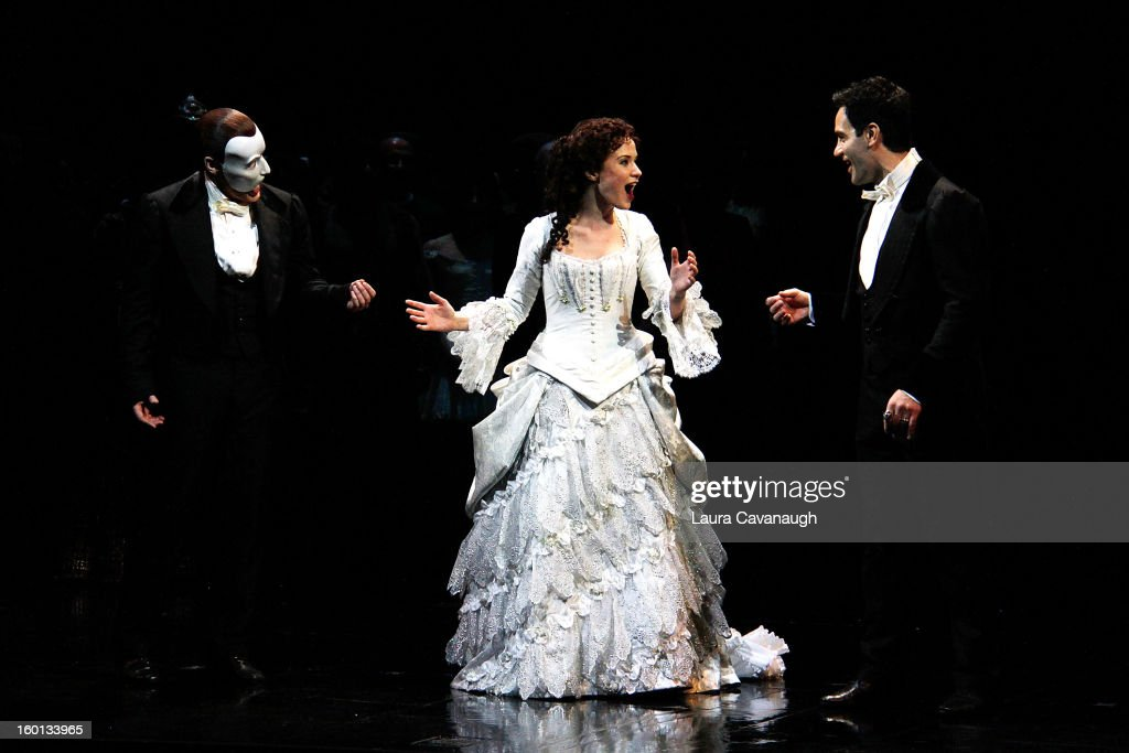Sierra Boggess and Hugh Panaro (L) attend 'The Phantom of the Opera' attend 'The Phantom Of The Opera' Broadway 25th Anniversary at Majestic Theatre on January 26, 2013 in New York, New York.