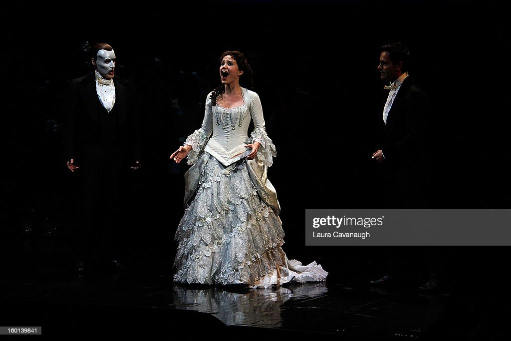 <a gi-track='captionPersonalityLinkClicked' href=/galleries/search?phrase=Sierra+Boggess&family=editorial&specificpeople=539375 ng-click='$event.stopPropagation()'>Sierra Boggess</a> and Hugh Panaro (L) attend 'The Phantom of the Opera' attend 'The Phantom Of The Opera' Broadway 25th Anniversary at Majestic Theatre on January 26, 2013 in New York, New York.