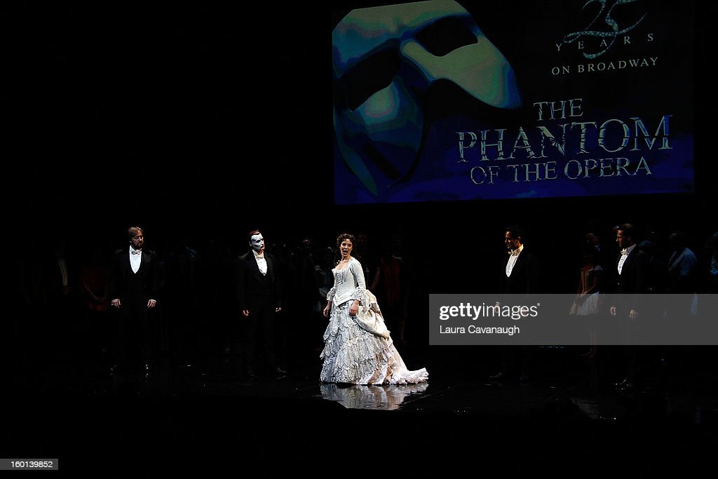 <a gi-track='captionPersonalityLinkClicked' href=/galleries/search?phrase=Sierra+Boggess&family=editorial&specificpeople=539375 ng-click='$event.stopPropagation()'>Sierra Boggess</a> and Hugh Panaro (2nd from Left) attend 'The Phantom of the Opera' attend 'The Phantom Of The Opera' Broadway 25th Anniversary at Majestic Theatre on January 26, 2013 in New York, New York.