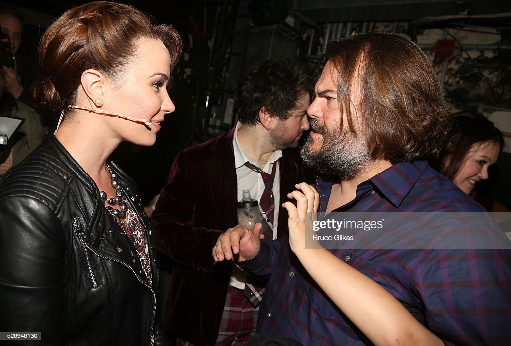 Sierra Boggess (who plays 'Principal Rosalie Mullins') and Jack Black (who played 'Dewey Finn' in the movie) chat backstage at the hit musical based on the film starring Jack Black 'School of Rock' on Broadway at The Winter Garden Theatre on May 1, 2016 in New York City.
