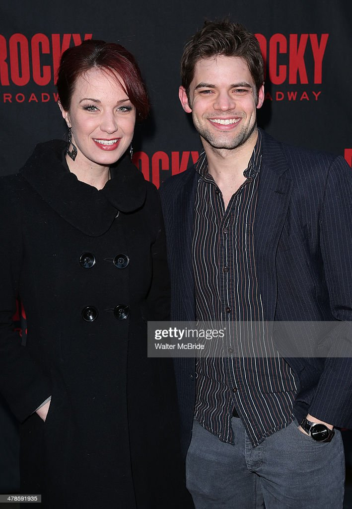 <a gi-track='captionPersonalityLinkClicked' href=/galleries/search?phrase=Sierra+Boggess&family=editorial&specificpeople=539375 ng-click='$event.stopPropagation()'>Sierra Boggess</a> and Jeremy Jordan attend the 'Rocky' Broadway Opening Night at Winter Garden Theatre on March 13, 2014 in New York City.