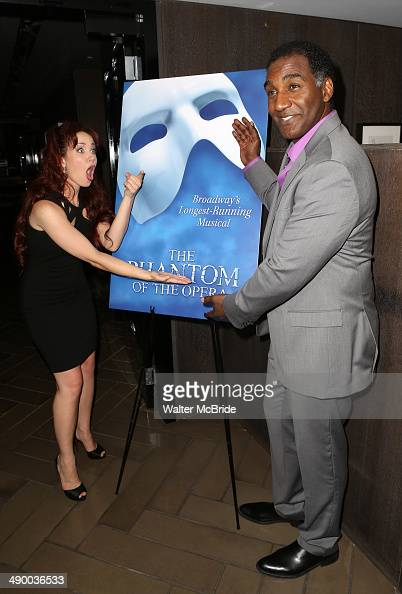 Sierra Boggess and Norm Lewis attends the post show celebration for Norm Lewis and Sierra Boggess starring in 'Phantom of the Opera' at the Paramount...