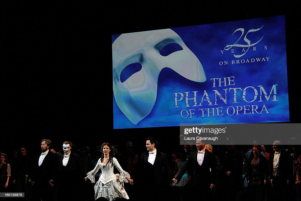 Sierra Boggess, Hugh Panaro, Kyle Barisich and the cast of 'The Phantom of the Opera' attend 'The Phantom Of The Opera' Broadway 25th Anniversary at Majestic Theatre on January 26, 2013 in New York, New York.