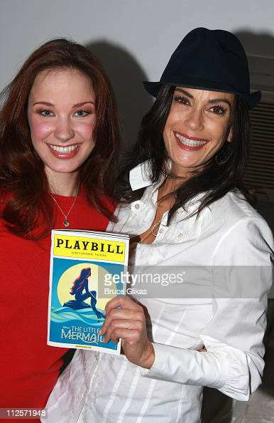 COVERAGE*** Sierra Boggess with Teri Hatcher pose backstage while celebrating Teri's daughter Emerson's birthday at Disney's The 'Little Mermaid' on...