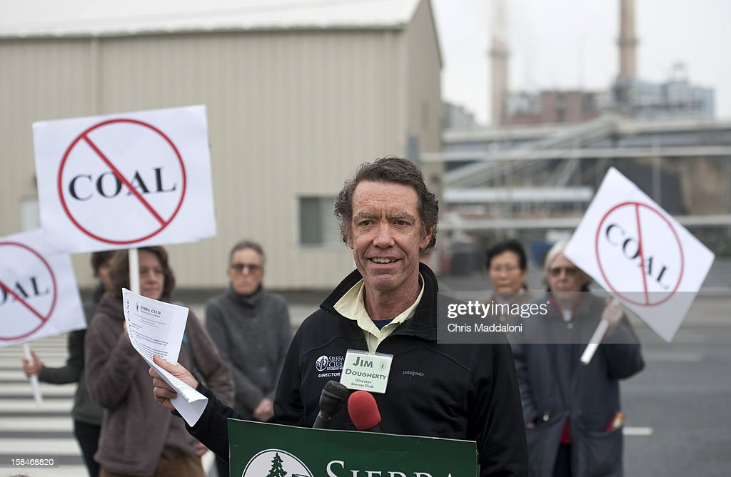 Sierra Club Director Jim Dougherty holds a news conference in front of the Capitol Power Plant to object to the continued use of coal as fuel for the plant. The Sierra Club have called for Mayor Vincent Gray 'to deny the power plant's request to loosen air pollution standards that would threaten residents' health.'