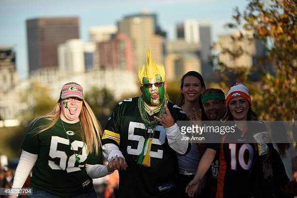 Sierra Cromwell and Jake Bacheller Green Bay fans from Billings Montana get ready to enter the stadium before the game The Denver Broncos played the...