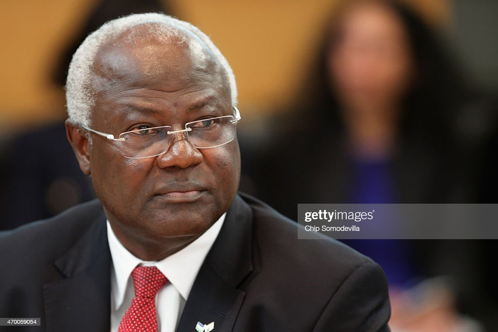 Sierra Leone President <a gi-track='captionPersonalityLinkClicked' href=/galleries/search?phrase=Ernest+Bai+Koroma&family=editorial&specificpeople=4447998 ng-click='$event.stopPropagation()'>Ernest Bai Koroma</a> attends a meeting about the fight against the Ebola outbreak in West Africa during the World Bank-International Monetary Fund Spring Meetings April 17, 2015 in Washington, DC. The World Bank announced Friday that it would provide an additional US$650 million over the next year to help Guinea, Liberia and Sierra Leone to recover from the social, economic and health impact of the Ebola crisis.
