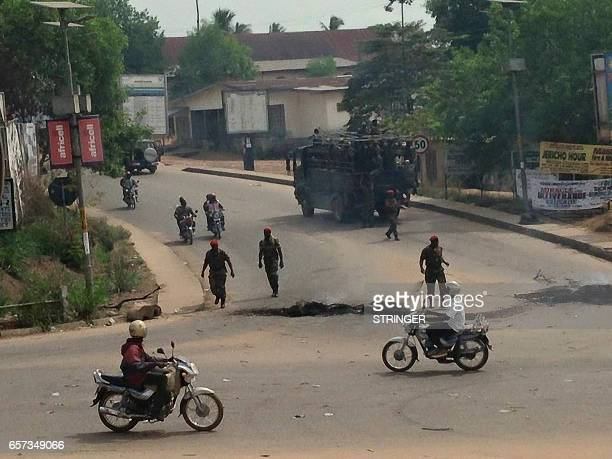 Sierra Leone soldiers patrol the streets of the southern city of Bo on March 24 2017 A student has been killed and several others injured at a...