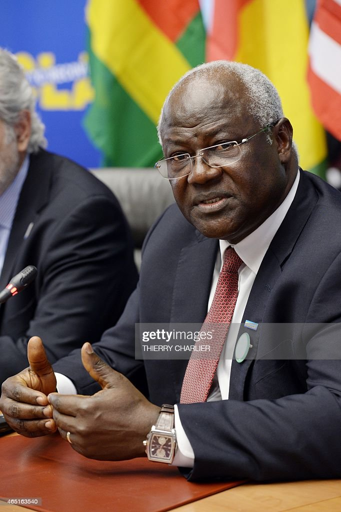Sierra Leonean President <a gi-track='captionPersonalityLinkClicked' href=/galleries/search?phrase=Ernest+Bai+Koroma&family=editorial&specificpeople=4447998 ng-click='$event.stopPropagation()'>Ernest Bai Koroma</a> attends a press conference on March 3, 2015 following a conference on Ebola held at the Egmont palace in Brussels. AFP PHOTO / THIERRY CHARLIER