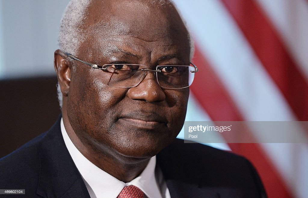 Sierra Leonean President <a gi-track='captionPersonalityLinkClicked' href=/galleries/search?phrase=Ernest+Bai+Koroma&family=editorial&specificpeople=4447998 ng-click='$event.stopPropagation()'>Ernest Bai Koroma</a> looks on in the Cabinet Room of the White House April 15, 2015 in Washington, D.C. The three Presidents discuss the progress made in the international Ebola response to-date.