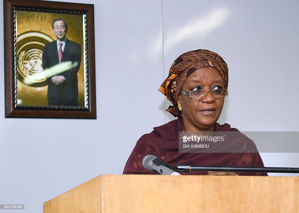 Sierra Leonean Special Representative of the United Nations Secretary General on Sexual Violence in Conflict, Zainab Hawa Bangura delivers a speech at the UNOCI headquarters in Abidjan, on May 27, 2016 during her first visit to Ivory Coast since the 2011 post-electoral crisis. / AFP / SIA