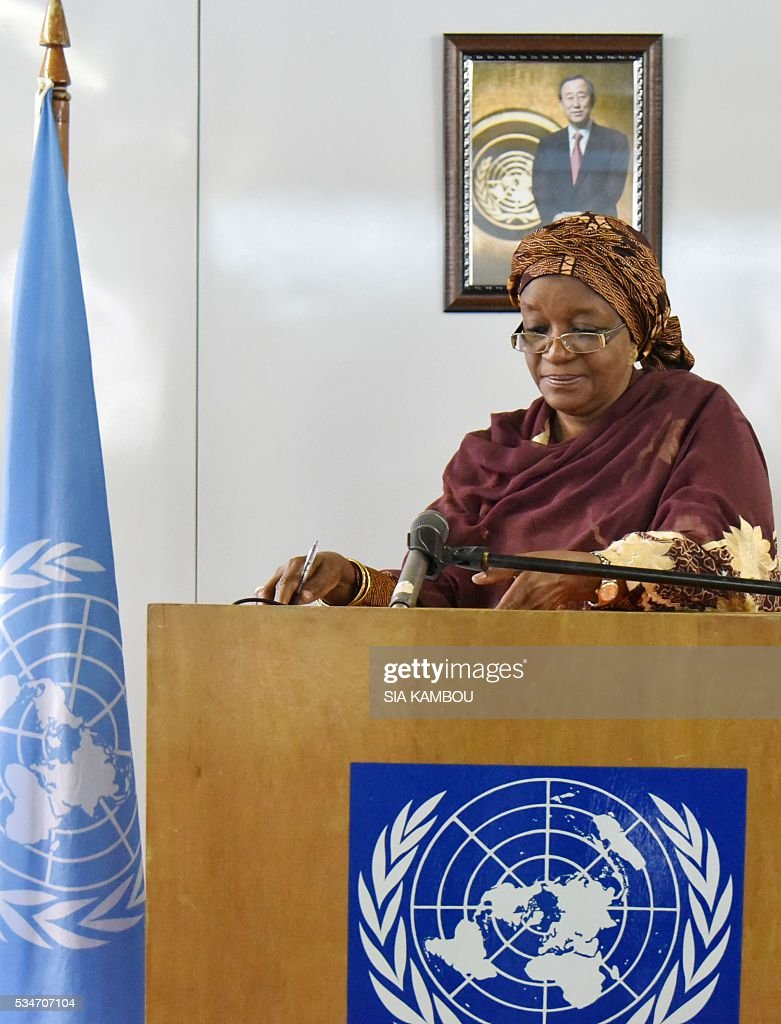 Sierra Leonean Special Representative of the United Nations Secretary General on Sexual Violence in Conflict, Zainab Hawa Bangura, delivers a speech at the UNOCI headquarters in Abidjan, on May 27, 2016 during her first visit to Ivory Coast since the 2011 post-electoral crisis. / AFP / Sia KAMBOU