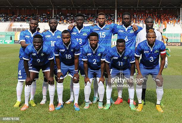 Sierra Leone's national football team players pose prior to an African Cup of Nations 2015 qualifying football match Ivory Coast vs Sierra Leone on...